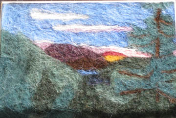 mountain sunset felt